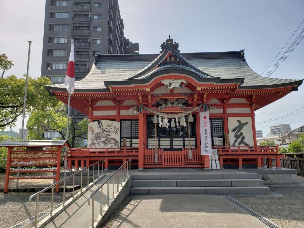 若宮八幡社の本殿・本堂(大分県古国府駅)