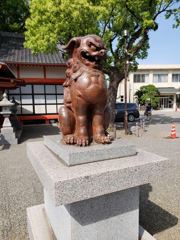 若宮八幡社の狛犬(大分県古国府駅)